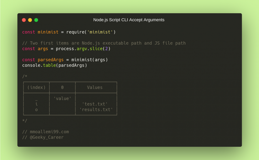 How to accept command line arguments in Node.js scripts?